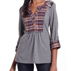 Anthro One September Gray Plaid Pocketed Top Sz XS